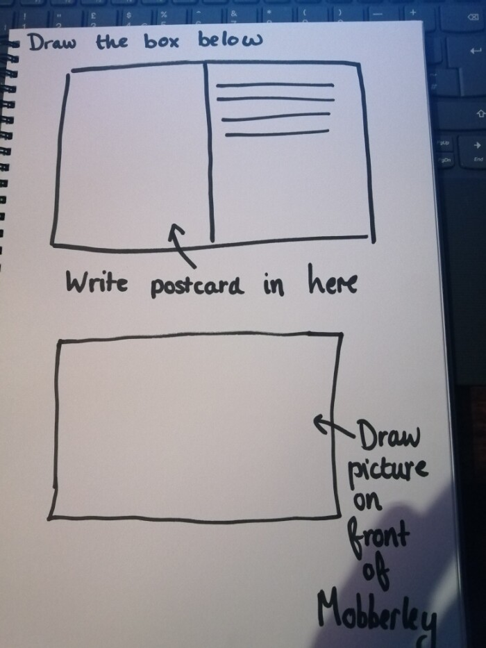 How to draw a postcard in your book example
