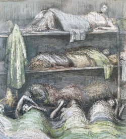 Shelter Scene: Bunks and Sleepers 1941 Henry Moore OM, CH 1898-1986 Presented by the War Artists Advisory Committee 1946 http://www.tate.org.uk/art/work/N05711