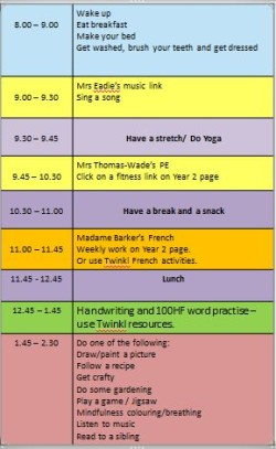 Thursday timetable